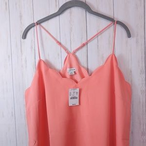 J CREW New Scallop Swing Cami Tank Top Coral 12